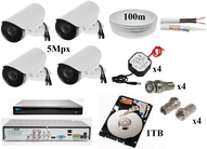 Set - VOBDVR2204 + 4 5Mpx cameras, 1TB hard disk, 4x 1.5A power supplies, connectors, cable (video + power) 100m