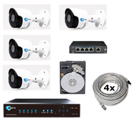 SET-5104 + 4 + 4cameras 2Mpix IR 30m+4CH NVR+Switch PoE+1TB disk+4xRJ45 patch cord