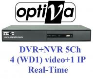 VODVR9104 - 5-channel, 720x576 Real-Time 100 f/s, H.264, PAL/NTSC, 10/100Mbit, 1x Audio inputs